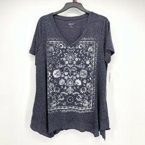 Style & CO 1X  Floral Short Sleeve L2-03